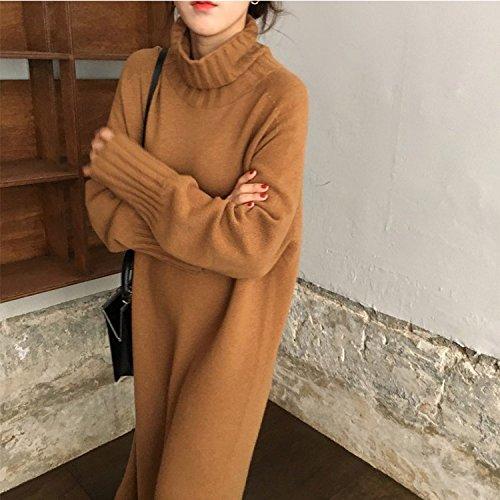 SZYL-Sweater Mittellange Damen Pullover Kleid High Neck Joker Damen Kopf Koreanisch, Braun Rot, One Size