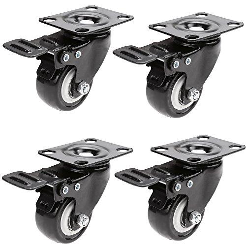 """Homdox 4 x 2\""""/50 Lenkrollen Schwenkrollen mit Bremse Tragkraft von 400kg aus Gummi"""