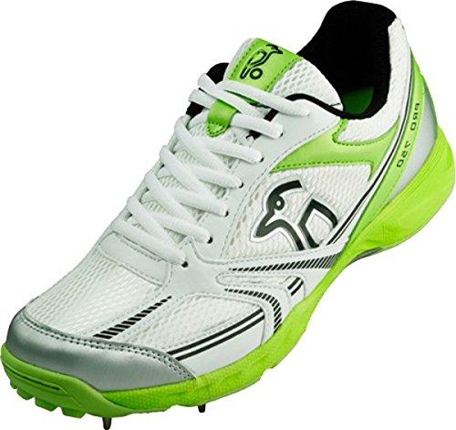 KOOKABURRA Pro 750Chaussures de Cricket pour Homme Léger Respirant Sport formateurs White-Green-Silver