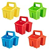 Set of 5 Colours 4 Compartment Plastic Sink Tidy Filter Cutlery Drainer Caddy with Handle