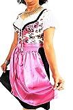 Bavarian Clothes Dirndl Damen Midi Trachtenkleid 040 mit Bluse & Schürze geblümt 3 TLG, Rosa Pink Schwarz Weiß Oktoberfest Wiesn Größe 36