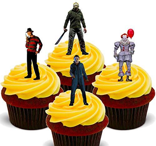 Made4You Iconos de película de Terror de Halloween – Decoración Comestible para Cupcakes – Obleas de decoración para Tartas