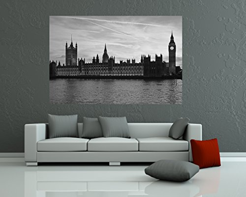 """Bilderdepot24 Fotomural """"Big Ben Temse Londres - negro y blanco"""" 135x90 cm - Papel tejido-no tejido. Fotomurales - Papel pintado - la fabricación made in Germany!"""
