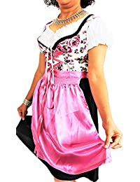 Dirndl Trachtenkleid Kleid 3Tlg. mit Dirndlbluse Schürze geblümt Gr: 34-50 in Farbe rot schwarz gold türkis blau pink violett grün grau Wiesn BAVARIAN CLOTHES Midi Oktoberfest