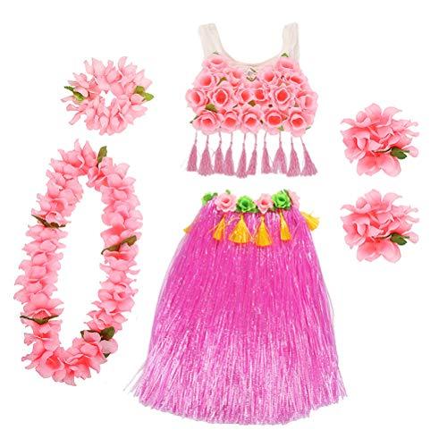 PRETYZOOM 1 Satz Hawaii Tropical Hula Grass Dance Rock Blume Armbänder Stirnband Halskette Set Hawaii Party Performance Kostüm für Kinder (Rosa) (Rosa Kinder Party Kostüm)