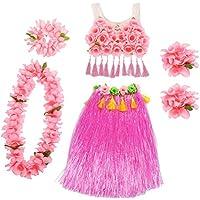 Amosfun Hawaii Tropical Hula Grass Dancing Skirt Girls Traje Traje Flor Pulseras Head Loop Cuello Guirnalda Tirantes corsé Conjunto