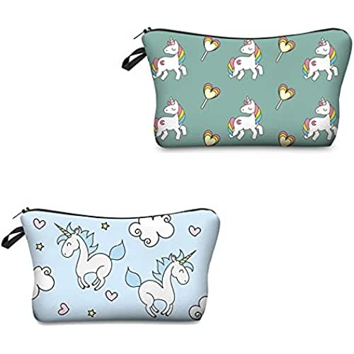 maquillaje unicornio kawaii yansion 2pcs/set super divertido 3d impresión mujeres bolsa de cosméticos multifuncition Pencil Holder (unicornio)