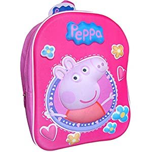 51JJ cABfkL. SS300  - Girls' Pink Peppa Pig Magic 3D Travel Backpack School Bag