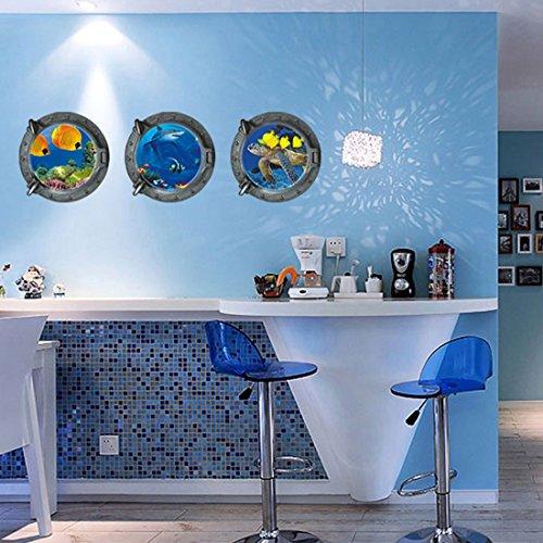 Mondo Sottomarino Tartarughe pesci balena pvc adesivo da parete in vinile, removibile salone camera da letto Cucina Art Picture Murals Sticks finestra porta decorazione + 3d rana regalo adesivo per
