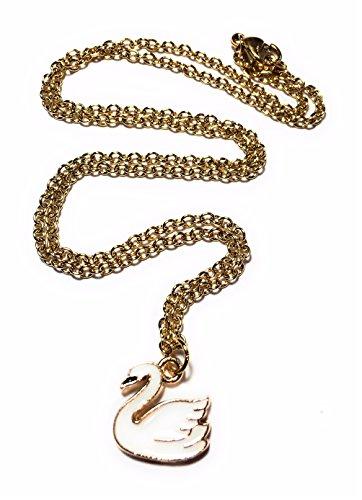 Fizzybutton regali cigno smalto bianco e oro con ciondolo placcato oro con catena in acciaio inox in confezione regalo