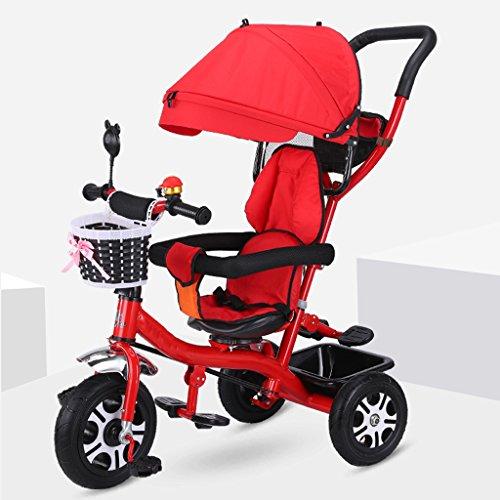 Leichter Kinderwagen aus Titan, Luftrad, Stoßdämpfung, abnehmbar, höhenverstellbar, Kinderpedal, Dreirad mit großer Stauraum, drehbarer Sitz, Baby Buggy mit Sonnen rot