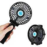 Handheld Electric Fans TEMPO Mini Portable Outdoor Fan with Rechargeable Battery Foldable Handle Desktop for Home and Travel-Black