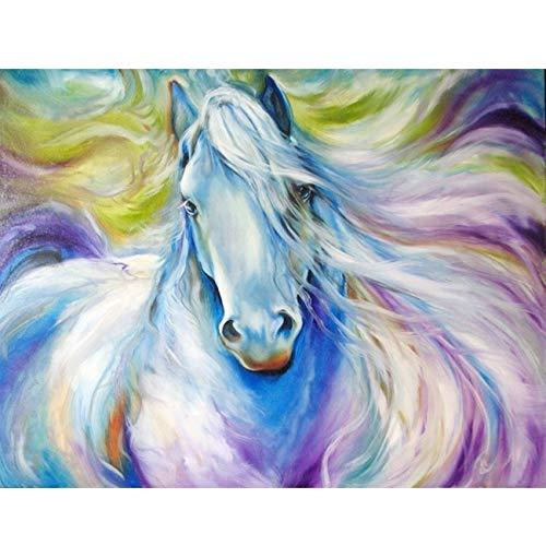 SKRYUIE 5D Diamantgemälde mit Pferdemotiv für Kinder und Erwachsene, Malen mit Diamanten, Stickerei, Kreuzstich, Basteldekoration, 30 x 40 cm -