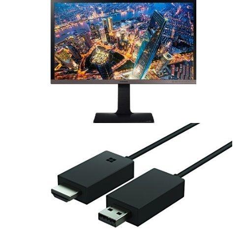 Set aus Samsung U28E850R 71,1 cm (28 Zoll) Business Monitor (HDMI, USB, 1ms Reaktionszeit, 60 Hz Aktualisierungsrate, 3840 x 2160 Pixel) schwarz/silber + Microsoft Wireless Display Adapter -