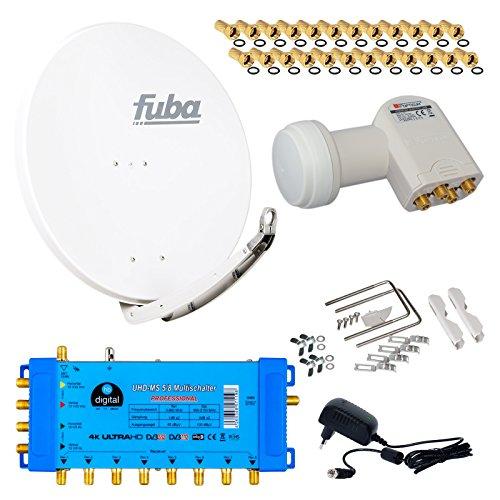 FUBA 8 Teilnehmer Digital SAT Anlage DAA850W + Opticum LNB 0,1dB Full HDTV 4K + PMSE Multischalter 5/8 + 24 Vergoldete F-Stecker Gratis dazu - Gratis-pille