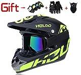 YH-jm Erwachsene Männer und Frauen Motocross/ATV/Dirt Bike 4-PC Gear Combo-Helm, Masken, Handschuhe & Goggles-DOT Zertifiziert,A1,M