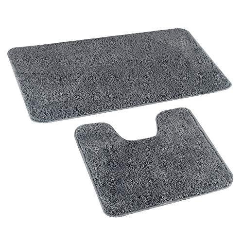 GoMaihe Badematte Set 2 Teilig, Rutschfest Waschbar Teppich Badezimmer Fußmatte (77×47cm) und U-förmige Kontur Weich WC Teppich (48×47cm), Polyester Saugfähig Badteppich für Badezimmer Dusche, Grau