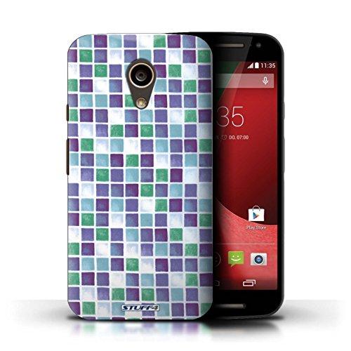 Kobalt® Imprimé Etui / Coque pour Motorola Moto G (2014) / Violet/Blanc conception / Série Carreau Bain Violet/Vert
