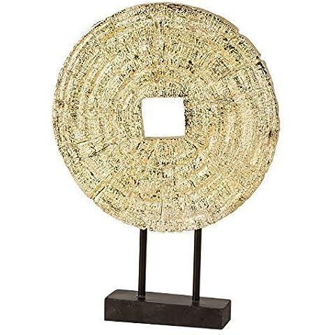 Elegante oggetto decorativo color oro in pietra artificiale altezza 33,5 cm con attacco