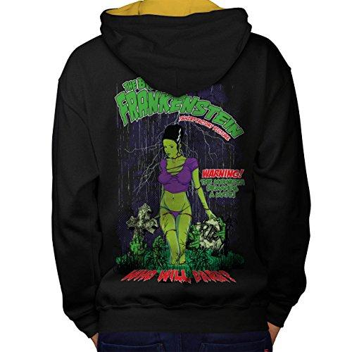 Frankenstein Braut Monster Kamerad Men M Kontrast Kapuzenpullover Zurück | (Frankenstein Von Kostüme Braut)