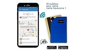 PROTEC CARD / Porte Carte Connecté en Aluminium / Blocage RFID - Paiement sans contact / Étui carte bancaire qui vous alerte en cas de vol, de perte ou d'oubli grâce à son application dédiée.