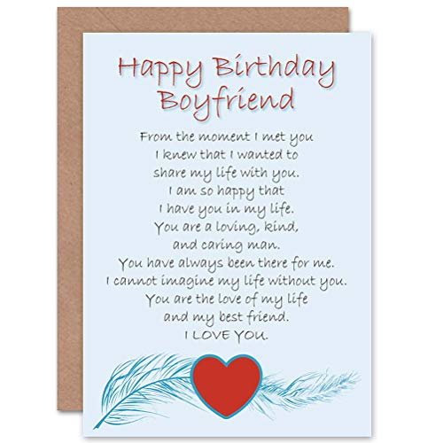 Wee Blue Coo LTD Birthday Boyfriend Love Poem New Art Greetings Gift Card