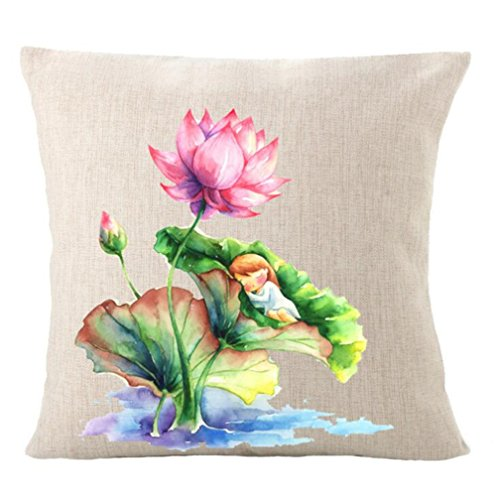Wmshpeds Chinesische wind Hand bemalt Blume-förmige Lotus Baumwolle und Leinen Kissen Kissen multifunktionale Sofa mit Kissen setzt (Von Baumwoll-leinen Bemalt, Hand)