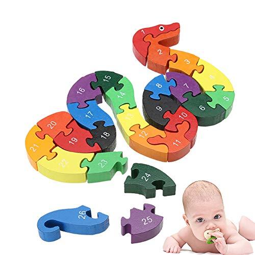 Xiton 26pcs / Set Alphabet Puzzle Bausteine ??Tier Holzpuzzle aus Holz Schlange Buchstaben Zahlen Block-Spielwaren für Kinder Früherziehung Spielzeug