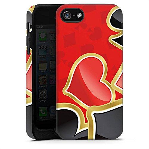Apple iPhone 4 Housse Étui Silicone Coque Protection Poker Jeu de cartes Rouge Cas Tough terne