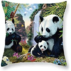 Diseño de oso panda poliéster almohada Funda de almohada coche sofá cojín cubierta