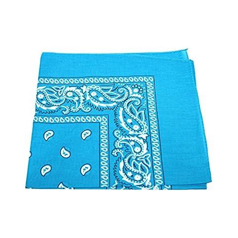Men's/Women's Bandana Head or Neck Scarves Paisley Pattern 100% Cotton – Sky Blue