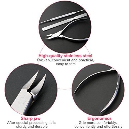 ROSENICE Nagelzange Fußnagel Werkzeuge aus Edelstahl Für Fußnägel und Eingewachsene Zehennägeln 3 teiliges