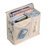 XINING - Organizer/comodino a 6tasche, da appendere al divano, al letto o al materasso, per riporre libro, telecomando, cellulare, occhiali - beige