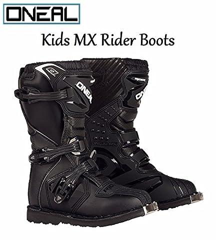 O'NEAL YOUTH RIDER BOOTS Motorbike Kids MX Motocross Sports Off Road Enduro Quad Kart Dirt Bike Cycle ATV MTB BMX Cub Race Boots - Black - UK2 /