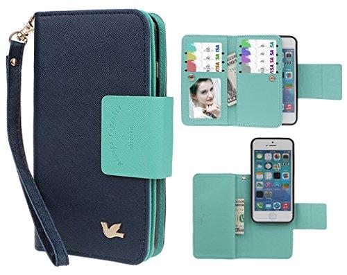 xhorizon FX Prämie Leder Folio Case [Brieftasche] [Magnetisch abnehmbar] Uhrarmband Geldbeutel Flip Vogel Tasche Hülle für iPhone 5 5s mit einer Auto Einfassungs Halter Marineblau