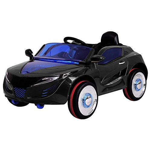 *COSTWAY 2.4G Elektroauto Kinderauto Elektrofahrzeug Kinderfahrzeug Elektro Auto Zwei Motor mit Fernbedienung und Musik (Schwarz)*