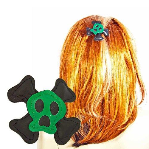 Haarklammer Haarspange Totenkopf Gothic Skull Haarclips grün schwarz
