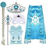 VAMEI Disfraz Elsa Viste a Tiara Trenza Varita Capa Máscara Guantes Azules Conjunto Niñas Fiesta Cosplay Accesorios (Elsa A)