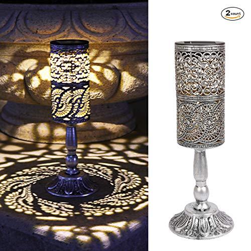 2 Stück, Solarleuchten Retro Kerzenständer Solar Tischlampe für den Innenbereich im Freien antike Tischlampe, solarbetriebene Leuchten Garten Hof Kunst Dekor (Silbergrau) -