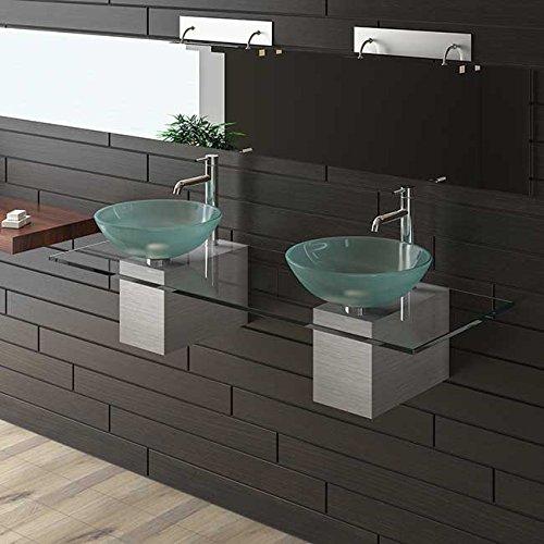 Glaswaschtisch / Waschplatz / Alpenberger / Waschtisch Serie 200 / Waschtische für Ihr exklusives Bad / Badezimmer / Doppelwaschtisch / Waschplatz / Aufsatzwaschschale /Waschbecken