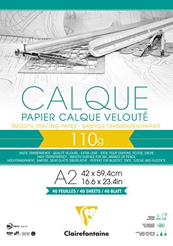 Clairefontaine 975108C Block Transparentpapier (DIN A2, 42 x 59,4 cm, 40 Blatt, 110 g, ideal für technische Zeichen) transparent