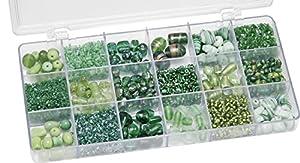 Gütermann / KnorrPrandell 6050440 - Caja con Perlas de Cristal para bisutería (tamaños Surtidos), Color Verde Importado de Alemania