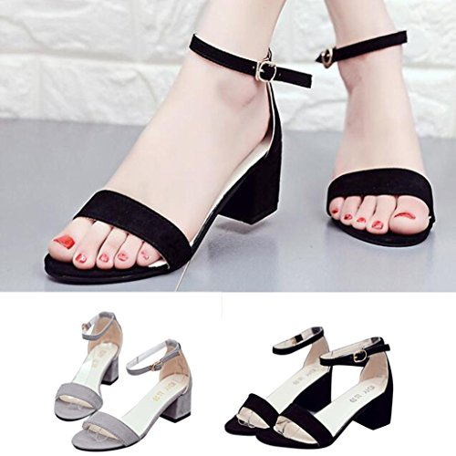 Omiky® Frauen Single Band Chunky Ferse Sandale mit Knöchel Strap Sommer Sandalen Schuhe Schwarz