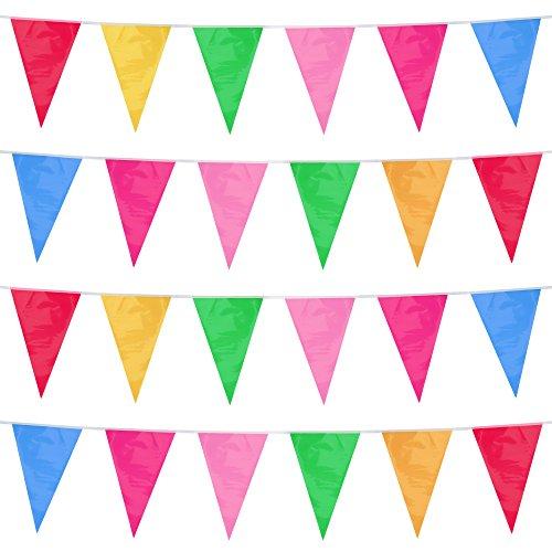 iLoveCos Guirnalda de Bandera Banderines de Plástico Doble Cara Decoraciones Festivas Interior/...