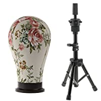 MagiDeal Flower Design Cork Canvas Block Mannequin Model Head Wig Making Hat Caps Display Head with Professional Black Adjustable Tripod Stand 23