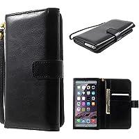 DFV mobile - Funda con Ventana Tactil y Tarjetero Premium de Piel Sintetica Diseño Caballo Salvaje para => PRESTIGIO Multiphone 5504 DUO > Negra