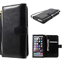 DFV mobile - Crazy Horse PU Leather Wallet Case with Frame Touchable Screen and Card Slots for => WOXTER Zielo ZX-900 4G > Black