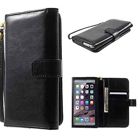 DFV mobile - Crazy Horse PU Leather Wallet Case with Frame Touchable Screen and Card Slots for => PRESTIGIO MULTIPHONE 5300 DUO > Black