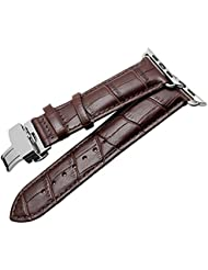 Apple Watch Band, 38mm Genuine Calf Leather Watch Strap For Iwatch with Deployant Stainless Steel Buckle for Apple Watch Band Brown