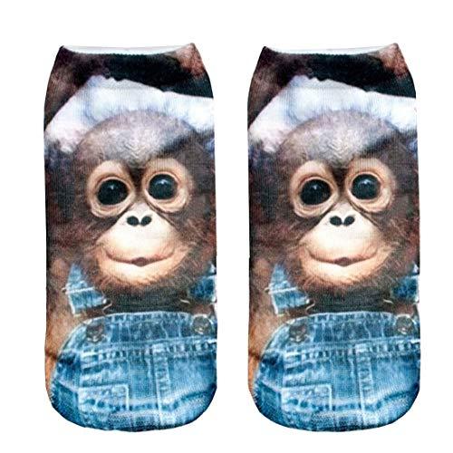 Feetures Low Cut Sock (Nicegift 3D Print Monkey Socks Women Casual Socks Unisex Low Cut Ankle Socks 19.7 inch)